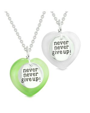 Amulets Never Give Up Love Couples or Best Friends Hearts Green White Simulated Cats Eye Necklaces