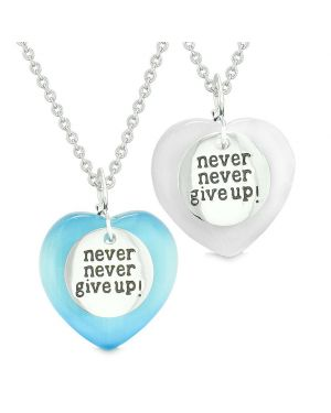 Amulets Never Give Up Love Couples or Best Friends Hearts Blue White Simulated Cats Eye Necklaces