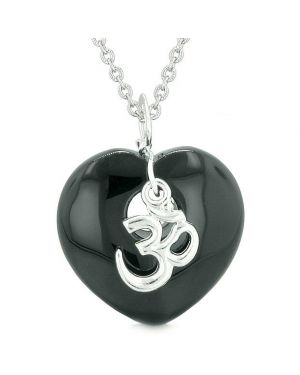Ancient Tibetan OM Inspirational Amulet Puffy Magic Heart Black Agate Pendant 18 inch Necklace