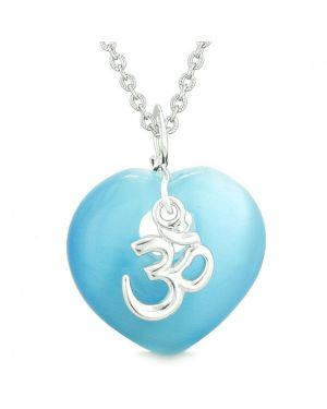 Ancient Tibetan OM Inspirational Amulet Magic Heart Sky Blue Simulated Cats Eye Pendant Necklace