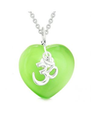 Ancient Tibetan OM Inspirational Amulet Heart Green Simulated Cats Eye Pendant Necklace