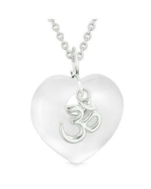 Ancient Tibetan OM Inspirational Amulet Magic Heart White Simulated Cats Eye Pendant Necklace