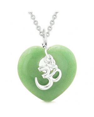 Ancient Tibetan OM Inspirational Amulet Puffy Magic Heart Green Quartz Pendant 18 inch Necklace