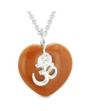 Ancient Tibetan OM Inspirational Amulet Puffy Magic Heart Red Jasper Pendant 18 inch Necklace