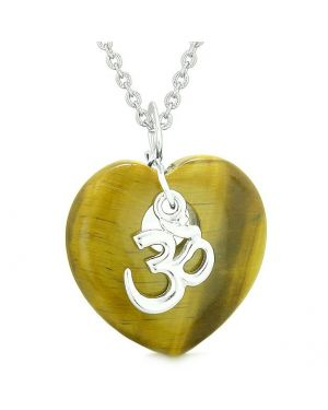 Ancient Tibetan OM Inspirational Amulet Puffy Magic Heart Tiger Eye Pendant 18 inch Necklace