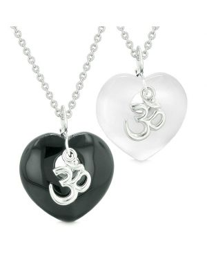 Ancient OM Amulets Love Couples or Best Friends Hearts Agate White Simulated Cats Eye Necklaces