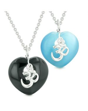 Ancient OM Amulets Love Couples or Best Friends Hearts Agate Sky Blue Simulated Cats Eye Necklaces