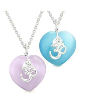 Ancient OM Amulets Love Couples Best Friends Magic Hearts Blue Purple Simulated Cats Eye Necklaces