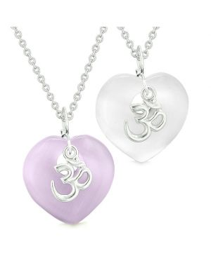 Ancient OM Amulets Love Couples Best Friends Magic Hearts White Purple Simulated Cats Eye Necklaces