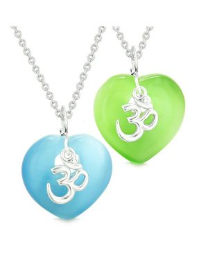 Ancient OM Amulets Love Couple Best Friends Magic Hearts Blue Green Simulated Cats Eye Necklaces