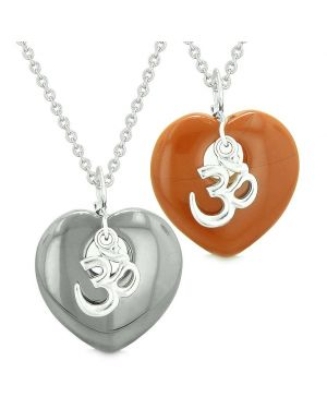 Ancient Tibetan OM Amulets Love Couples or Best Friends Puffy Hearts Red Jasper Hematite Necklaces