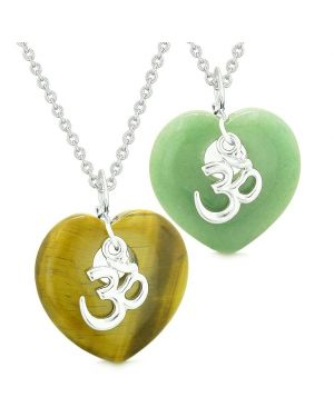 Ancient Tibetan OM Amulets Love Couples Best Friends Puffy Hearts Tiger Eye Green Quartz Necklaces