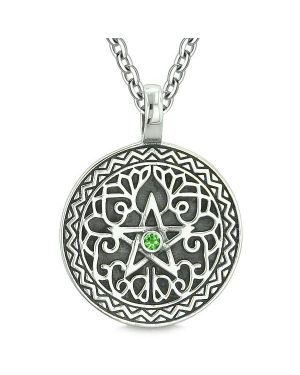 Amulet Pentacle Magic Star Celtic Defense Powers Pentagram Green Crystal Pendant Necklace