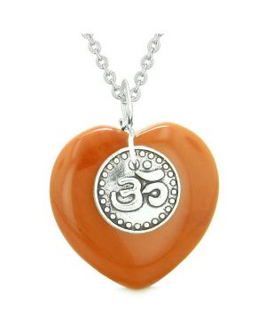 Magic OM Tibetan Spiritual Powers Puffy Heart Amulet Red Jasper Pendant 22 inch Necklace