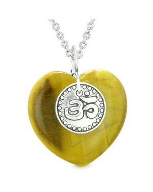 Magic OM Tibetan Spiritual Powers Puffy Heart Amulet Tiger Eye Pendant 22 inch Necklace