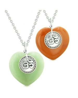 Spiritual OM Amulets Love Couples or Best Friends Magic Hearts Green Quartz Red Jasper Necklaces