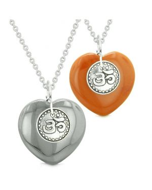 Spiritual OM Amulets Love Couples or Best Friends Magic Hearts Hematite Red Jasper Necklaces