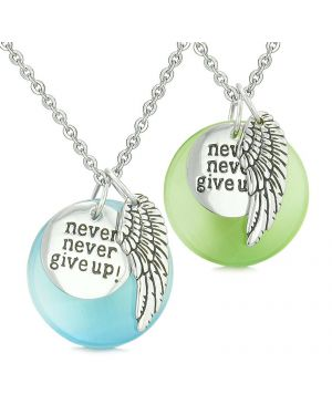 Angel Wing Inspiration Never Give Up Love Amulets Green Sky Blue Simulated Cats Eye Necklaces