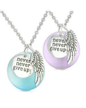 Angel Wing Inspirational Never Give Up Love Couple Amulets Blue Purple Simulated Cats Eye Necklaces