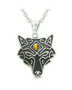 Celtic Wolf All Seeing Third Eye Magic Protection Amulet Tiger Eye Pendant 22 inch Necklace