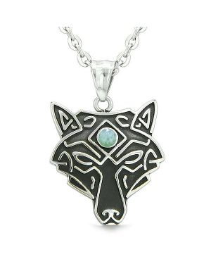 Celtic Wolf All Seeing Third Eye Magic Protection Amulet Green Quartz Pendant 22 inch Necklace