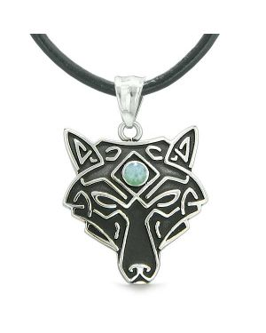 Celtic Wolf All Seeing Third Eye Magic Protection Amulet Green Quartz Pendant Leather Necklace
