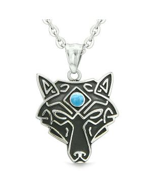Celtic Wolf All Seeing Third Eye Magic Protection Amulet Simulated Turquoise Pendant Necklace