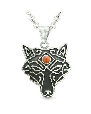 Celtic Wolf All Seeing Third Eye Magic Protection Amulet Red Jasper Pendant 18 inch Necklace