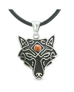 Celtic Wolf All Seeing Third Eye Magic Protection Amulet Red Jasper Pendant Leather Necklace