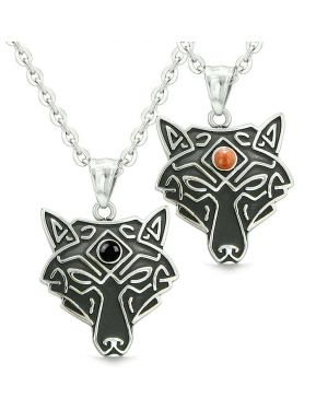 Celtic Wolf Third Eye Protection Love Couple or Best Friends Simulated Onyx Red Jasper Necklaces
