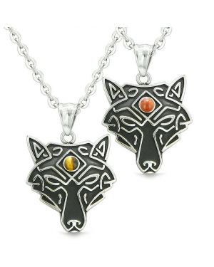 Celtic Wolf Third Eye Protection Magic Love Couple or Best Friends Red Jasper Tiger Eye Necklaces