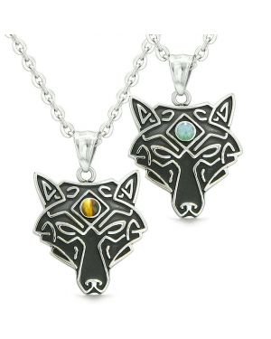 Celtic Wolf Third Eye Protection Magic Love Couples Best Friends Green Quartz Tiger Eye Necklaces
