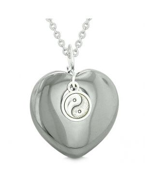 Yin Yang Balance Powers Puffy Magic Heart Amulet Hematite Pendant 18 inch Necklace