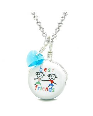 Handcrafted Cute Ceramic Charm Couple Best Friends Forever Blue Heart Amulet Pendant 18 Inch Necklace