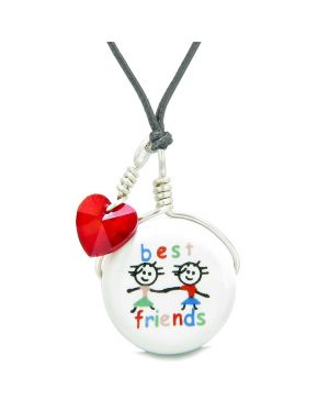 Handcrafted Cute Ceramic Charm Couple Best Friends Forever Red Heart Amulet Pendant Adjustable Necklace