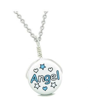 Handcrafted Cute Ceramic Lucky Charm Aqua Angel Stars and Hearts Amulet Pendant 22 Inch Necklace