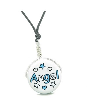 Handcrafted Cute Ceramic Lucky Charm Aqua Angel Stars and Hearts Amulet Pendant Adjustable Necklace