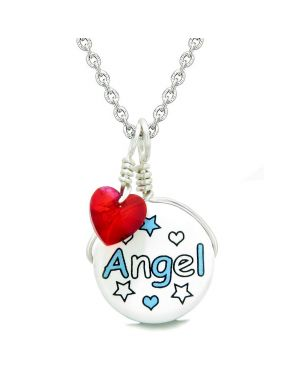 Handcrafted Cute Ceramic Lucky Charm Aqua Angel Stars Royal Red Heart Amulet Pendant 22 Inch Necklace