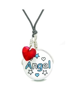 Handcrafted Cute Ceramic Lucky Charm Aqua Angel Stars Royal Red Heart Amulet Pendant Adjustable Necklace