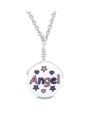 Handcrafted Cute Ceramic Lucky Charm Pink Purple Angel Stars Hearts Amulet Pendant 22 Inch Necklace