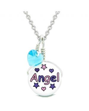 Handcrafted Cute Ceramic Lucky Charm Pink Purple Angel Stars Blue Heart Amulet Pendant 22 Inch Necklace