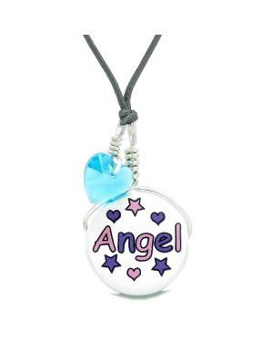 Handcrafted Cute Ceramic Lucky Charm Pink Purple Angel Stars Blue Heart Amulet Pendant Adjustable Necklace