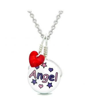 Handcrafted Cute Ceramic Lucky Charm Pink Purple Angel Stars Red Heart Amulet Pendant 18 Inch Necklace