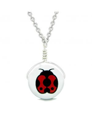Handcrafted Cute Ceramic Lucky Charm Adorable Lady Bug Amulet Pendant 18 Inch Necklace