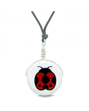 Handcrafted Cute Ceramic Lucky Charm Adorable Lady Bug Amulet Pendant Adjustable Necklace