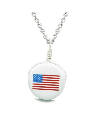 Handcrafted Cute Ceramic Lucky Charm Proud American Flag Amulet Pendant 22 Inch Necklace