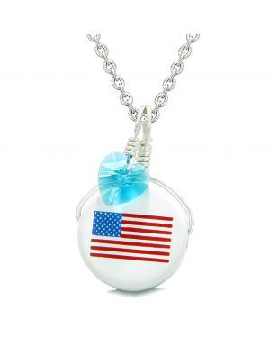 Handcrafted Cute Ceramic Lucky Charm Proud American Flag Blue Heart Amulet Pendant 18 Inch Necklace