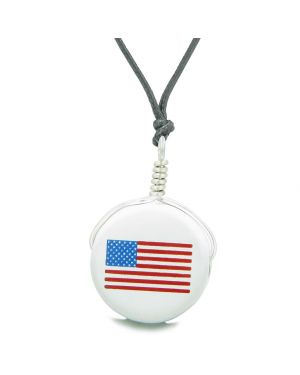 Handcrafted Cute Ceramic Lucky Charm Proud American Flag Amulet Pendant Adjustable Necklace