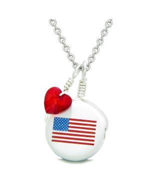 Handcrafted Cute Ceramic Lucky Charm Proud American Flag Red Heart Amulet Pendant 22 Inch Necklace