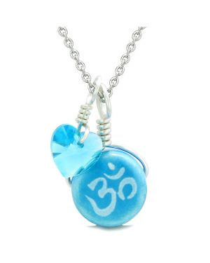 Handcrafted Cute Ceramic Lucky Charm Aqua OM Ohm Tibetan Blue Heart Amulet Pendant 22 Inch Necklace